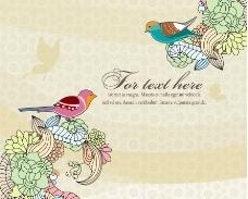 浪漫梦幻花纹小鸟喜鹊图片