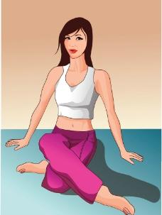 瑜伽动漫图片可爱