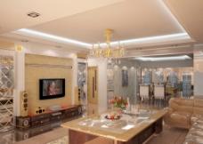 欧式客餐厅效果图图片