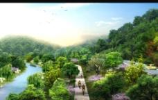 景区生态自行车道效果图图片