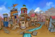 手绘小城图片