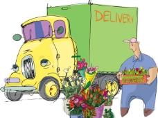 手绘货车卡车图片