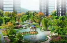 住宅小区中庭景观效果图图片