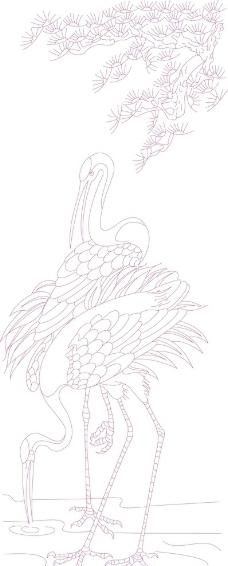 漂亮的花纹简笔画白鹤
