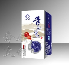 青花瓷白酒包装设计(展开图)图片