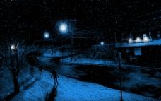 下雪的夜景图片