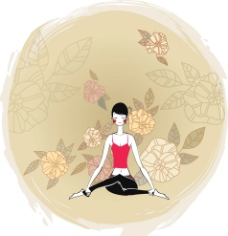 唯美瑜伽健身矢量插画系列图片