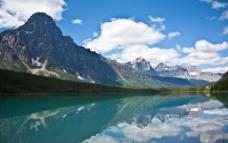 美丽高山下湖泊图片