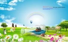 田园风光创意海报设计图片