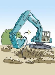 挖掘机挖断电线图片