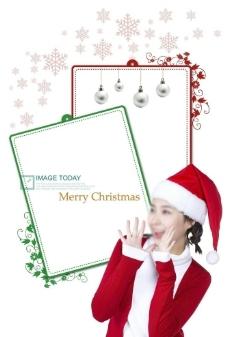 美女圣诞节素材图片