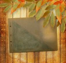 怀旧木纹纸张树叶图片