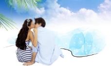 海边情侣沙滩素材图片
