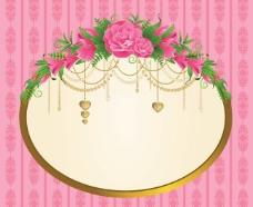 精致框架与花卉背景图片