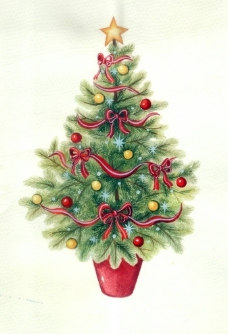 水彩圣诞树图片