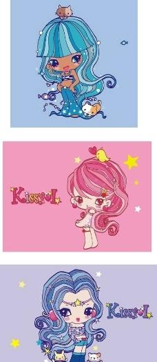 三个可爱漂亮的卡通小公主图片