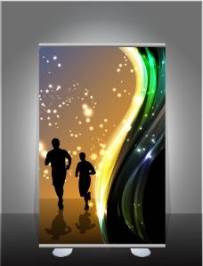 动感光线跑步剪影图片