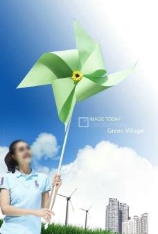 美女绿色自然环保素材图片