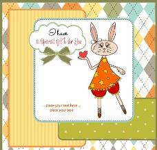 可爱小白兔花纹边框卡片贺卡图片