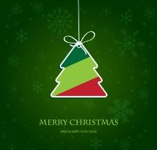 绿色圣诞树吊牌圣诞背景图片