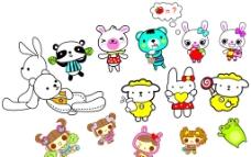卡通 可爱 小熊 小兔图片